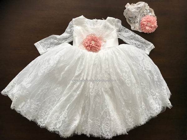 French White Baptism Dress with Long Sleeves