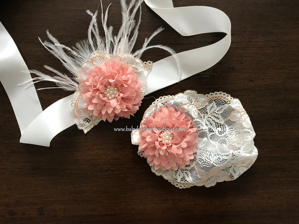 Wide French White Lace Headband and Sash, Pink Blush & Ivory Baptism Headband
