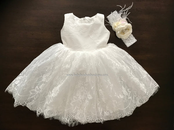 Baptism Lace Dress with Headband