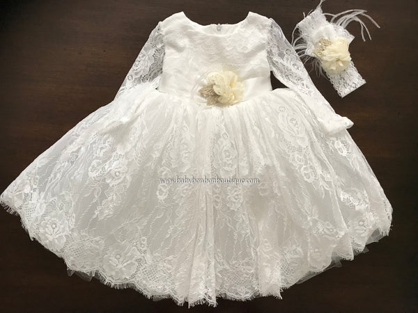 Long Sleeve Baptism Dress