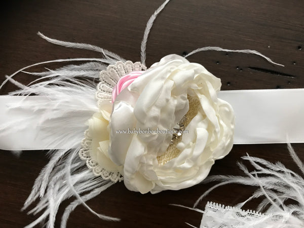 Ivory & Baby Pink Baptism Headband and Sash