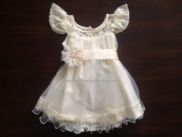 Creme Brulee Butterfly Baptism Dress with Flower Sash