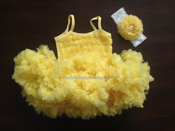 Yellow Fluffy Baby Petti Skirt Dress