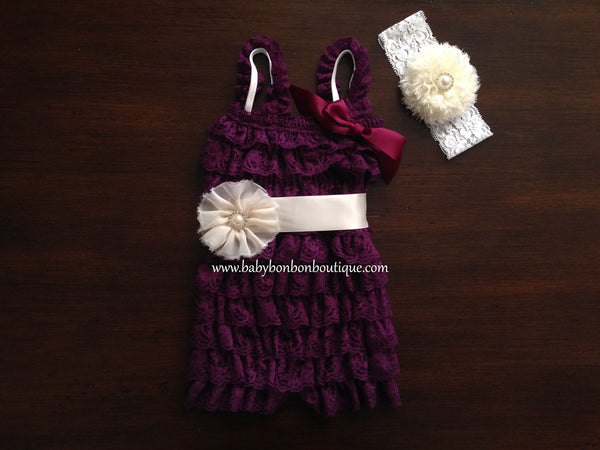 Ivory Baby Romper with Headband & Sash