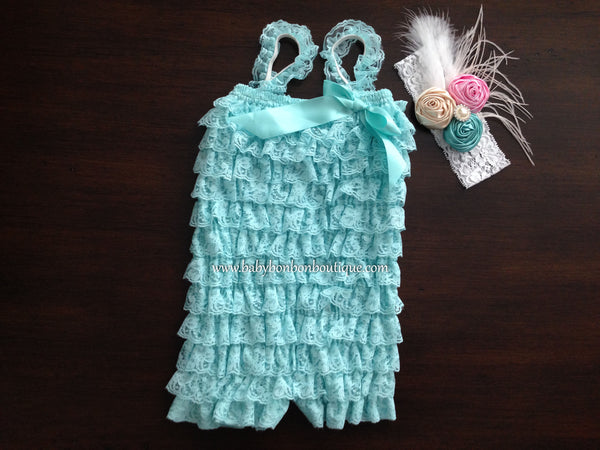 Vintage Baby Lace Romper with Headband & Sash