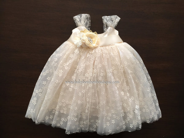 Baptism Tulle Dress with Rhinestones & Pearl Sash