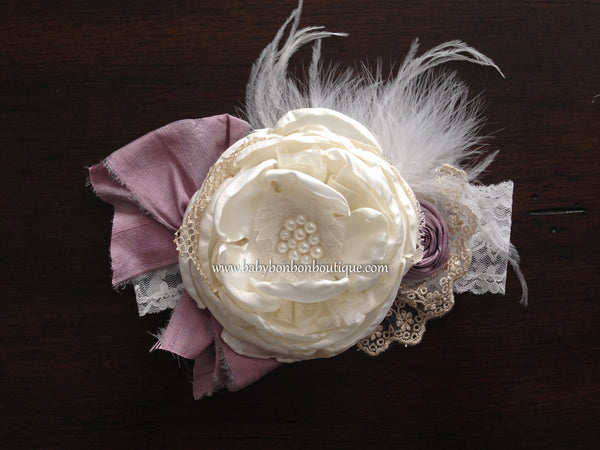 Ivory & Vintage Orchid Silk Baptism Headband and Sash