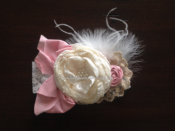 Ivory & Baby Pink Silk Baptism Headband and Sash