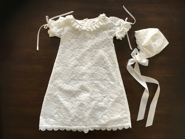 French White Lace Christening Dress and Bonnet, Belle Baptism Dress