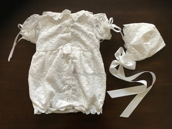 Girls Baptism Lace Romper and Bonnet