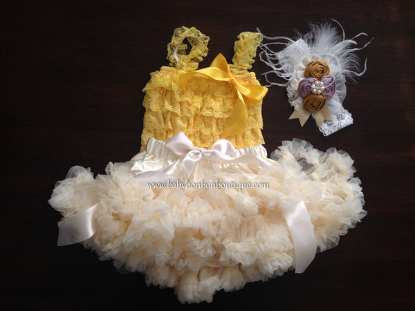 Yellow and Ivory Fluffy Skirt Set with Vintage Rosette Headband