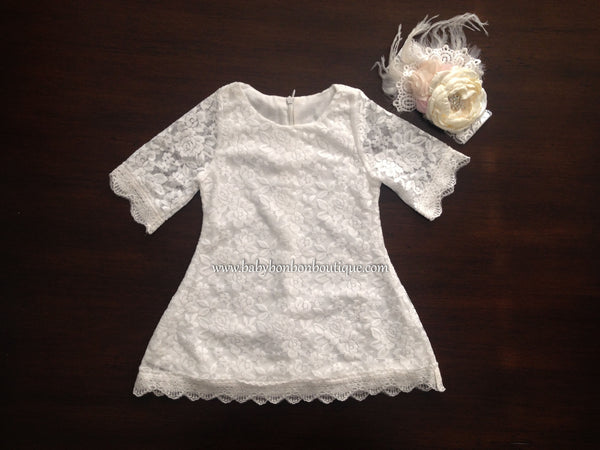 French White Bell Lace Dress with Ivory Headband