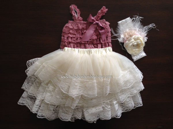 Lace Romper and Fluffy Lace Skirt with Headband