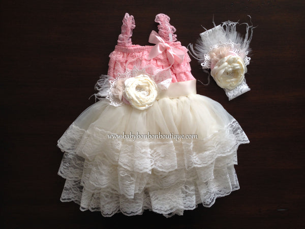 Pink Lace Romper and Ivory Fluffy Lace Skirt with Headband & Sash