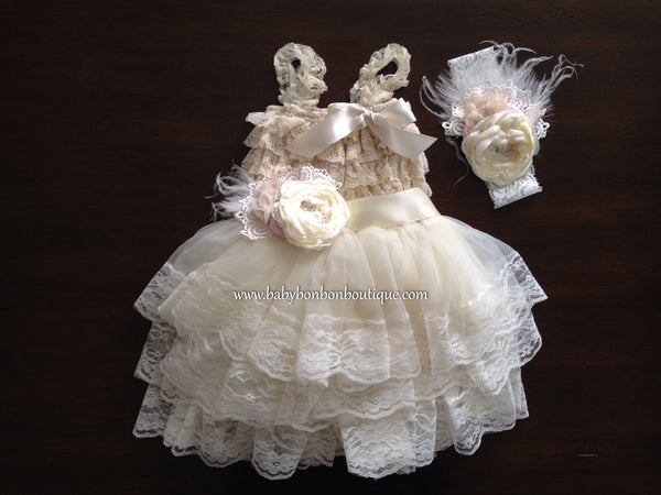 Lace Romper and Fluffy Lace Skirt with Headband & Sash