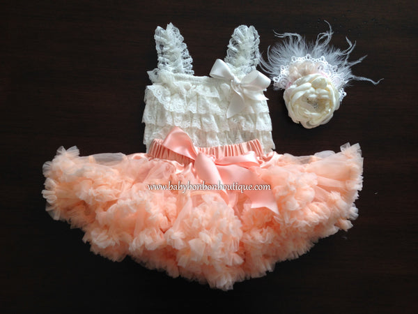 Ivory and Peach Fluffy Tutu Skirt Set