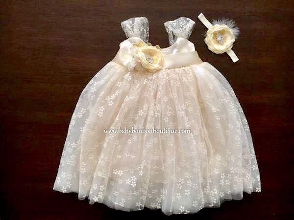 Vintage Cream Baptism Tulle Dress with Headband and Sash