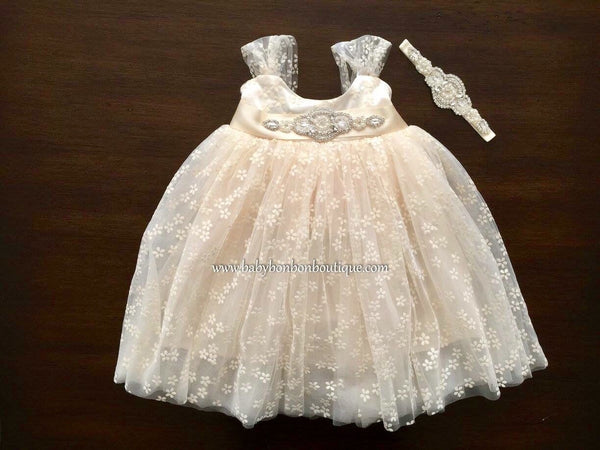French Baptism Tulle Dress with Rhinestones Headband and Sash