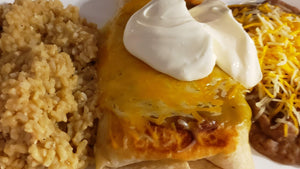 Creamy Chicken Chimichangas with Yellow Pea Rice & Pinto Beans