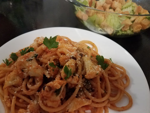 Recipe - Sicilian-Style Bucatini with Caesar-Style Salad & Oven-Toasted Croutons