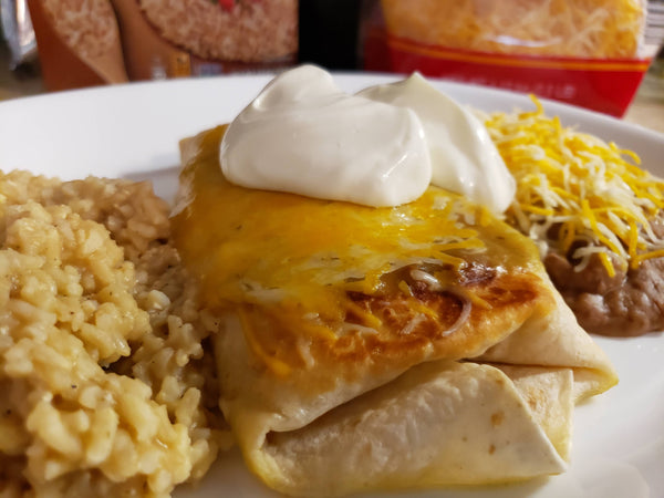 Creamy Chicken Green Chile Chimichanga - Enchilada - Wet Burrito