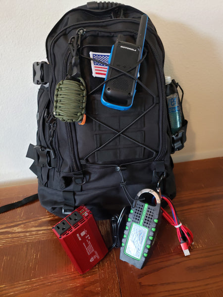 go bag, emergency prep., emergency supplies, packed backpack