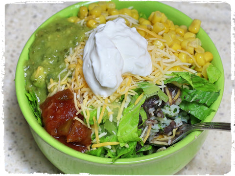 Sue's Burrito Bowl, Black Bean Flakes, Protein Bowl
