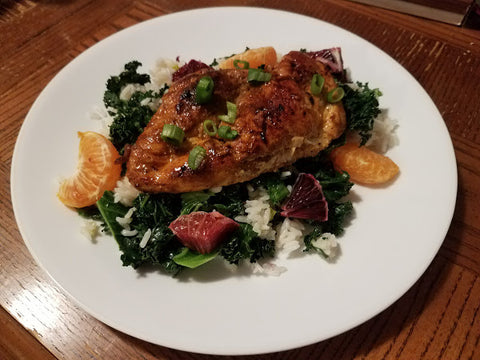 Blackened Chicken, Kale, Rice and Blood Oranges