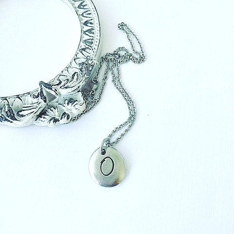 Hand Stamped Jewelry - Organic Pewter Pebble Necklace - Initial Jewelry - Pewter Necklace - Pewter Jewelry - Mothers Day Gift