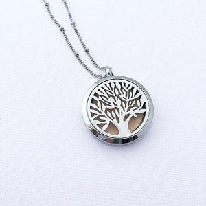 Diffuser Necklace Tree of Life Jewelry - Aromatherapy Necklace - Stainless Steel Essential Oil Diffuser - Essential Oil Necklace - Aroma