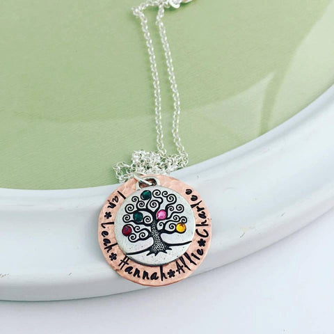 Personalized Hand Stamped Family Tree Necklace with Birthstones