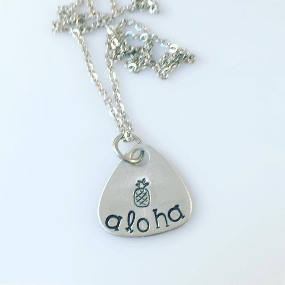Hand Stamped Aloha Necklace - Hawaiian Necklace - Inspirational Hand Stamped Necklace - Aloha Pineapple - Pineapple Necklace - Personalized