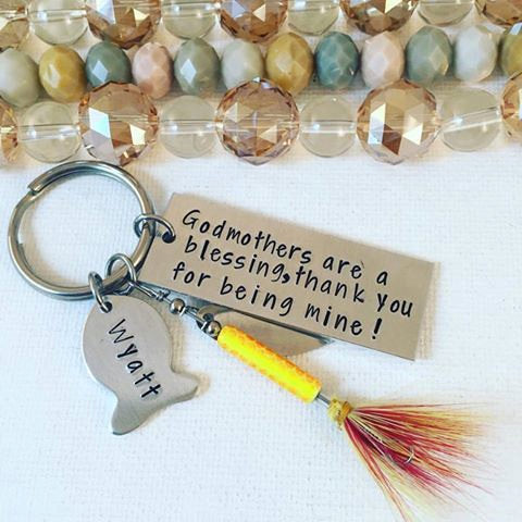 Godmothers are a blessing Thank You for being Mine - Godmothers keychain - Gift for Godmother - Fisherman Keychain - Fish Keychain