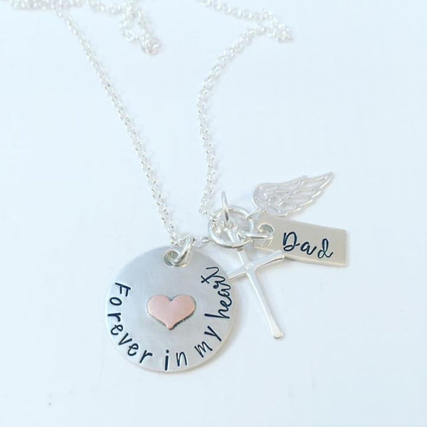 Forever in My Heart Memorial Necklace - Memorial Jewelry - Loss Jewelry - Hand Stamped Jewelry - Personalized Memorial Necklace