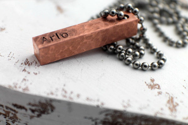 Copper Men's Personalized Necklace - Copper Bar Necklace - 4 Sided - Hand Stamped Jewelry - Hammered Solid Copper Bar - Gift for Dad Daddy