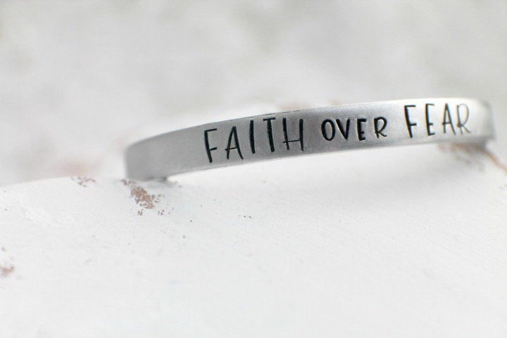 Faith Over Fear Bracelet - Hand Stamped Cuff Bracelet - Inspirational Bracelet - Religious - Baptismal Gift - Gift Christian - Gift for Her