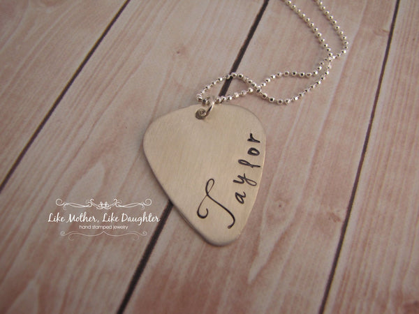 Personalized Guitar Pick - Custom Guitar Pick Necklace - Sterling Silver Guitar Pick Hand Stamped Necklace with Your Choice of Name
