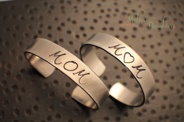 Hand Stamped Jewelry - Custom Mom Jewelry - Gift for Her - Personalized Cuff Bracelet for Mom - Personalized Bracelet