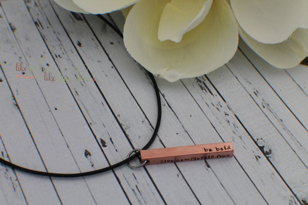 Fathers Day Gift from Kids Personalized Men's Necklace - Copper Bar Jewelry - Bar Necklace - Hand Stamped Jewelry - Solid Copper Bar