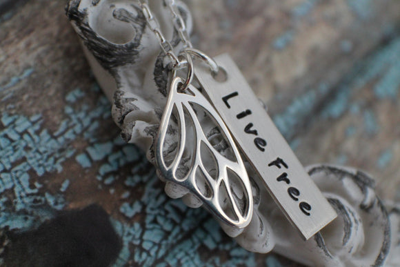 Hand Stamped Jewelry - Live Free Butterfly Wing Necklace  - Sterling Silver Butterfly Wing Necklace Valentine's Day