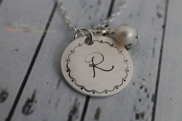 Hand Stamped Initial Jewelry - Hand Stamped Jewelry - Initial Necklace - Sterling Silver - Personalized Necklace - Your Initial