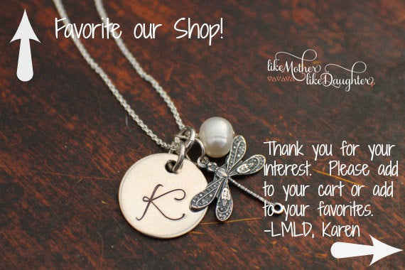 Dragonfly Necklace - Personalized Necklace - Initial Necklace - Hand Stamped Jewelry - Dragonfly Charm - Bridesmaid Gifts - Initial Jewelry