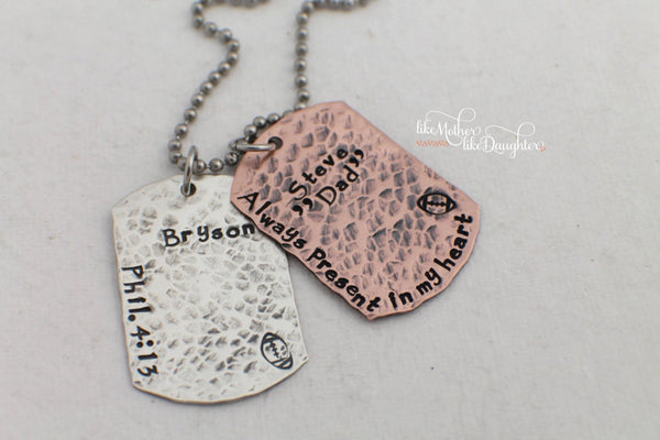 Custom Hand Stamped Jewelry - Dog Tag Necklace - Personalized Jewelry - Mens Gift - Id Tags - Custom Dog Tags - Gift for Him - Gift for Her