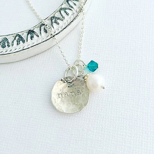 Tiny Brag Necklace - Personalized Nana Necklace - Sterling Silver - Hand Stamped Grandma Necklace - Personalized Jewelry - Birthstone