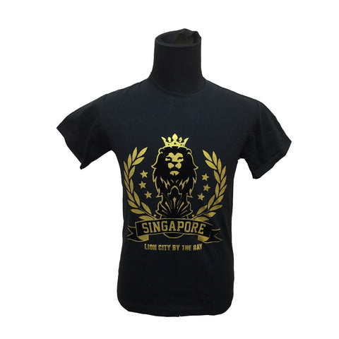 Singapore Merlion Crown Foil Tees