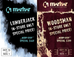 Marhar Snowboards Lumberjack Woodsman special pricing deal
