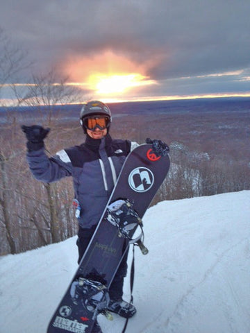 Steve on top of the mountain with his first Marhar Snowboard