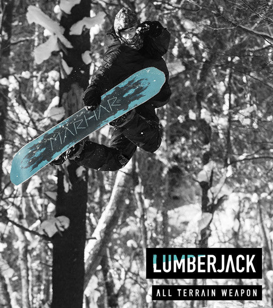 marhar snowboards lumberjack all terrain powder board button