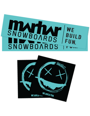 marhar snowboards we build fun sticker pack