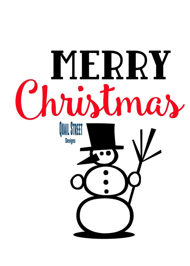 Merry Christmas With Snowman - Vinyl Decal Free Shipping #166